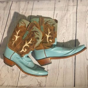 Vintage Lucchese Turquoise Cowboy Boots
